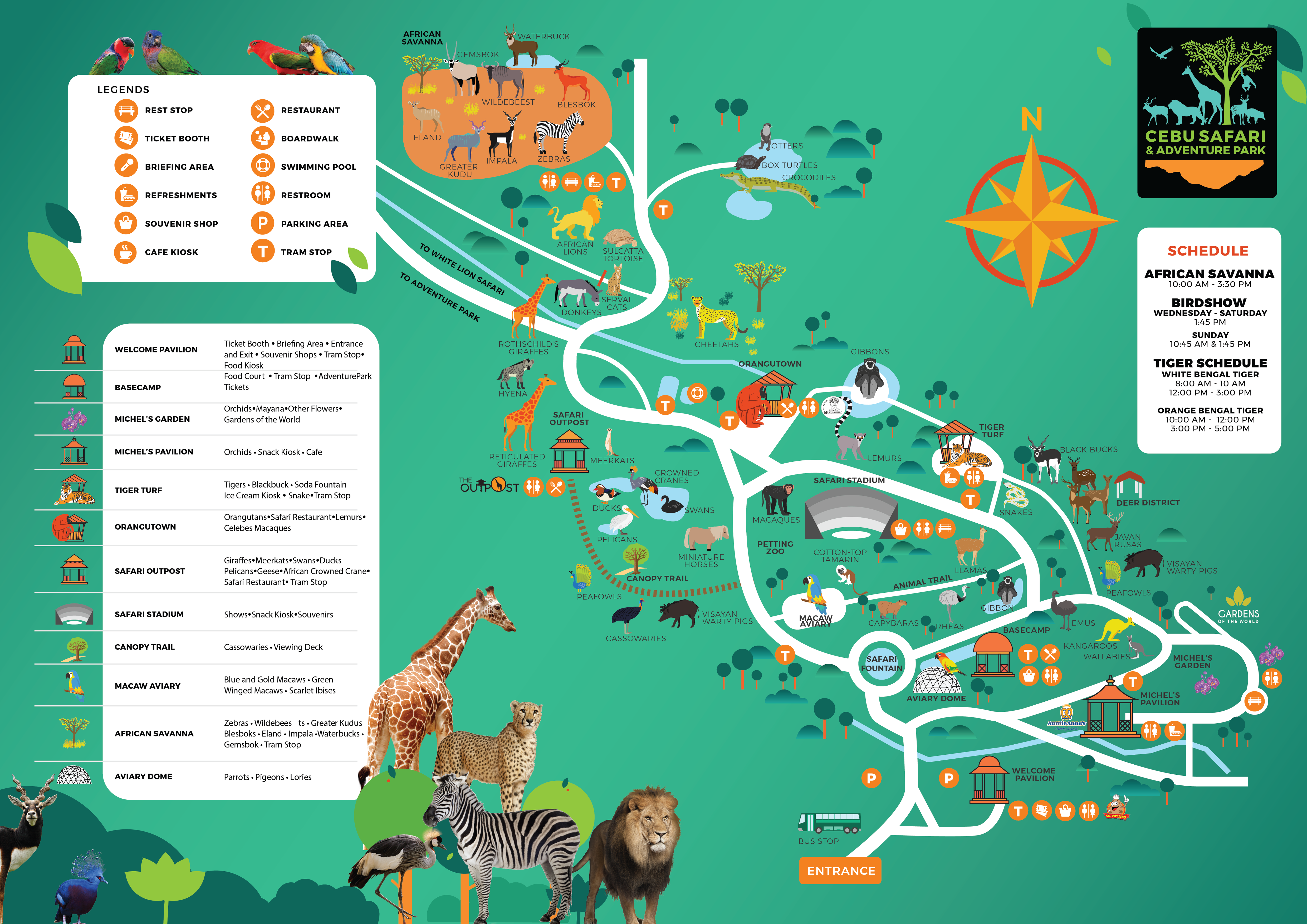 Cebu safari and adventure park map showing its legend, schedule and guidelines